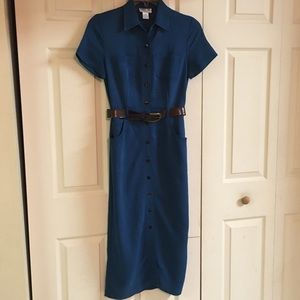 Robbie Bee Button Down Belted Pencil Dress